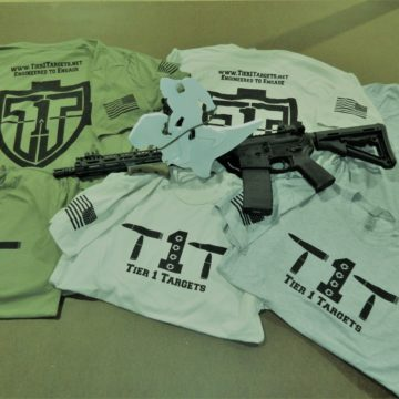 Tier 1 Targets t-shirts lying under rifle