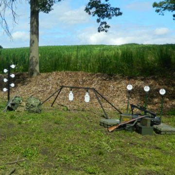Complete AR500 steel targets set with dueling tree, plate rack with IPSC silhouettes, & 6