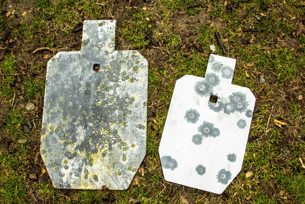 Lead splatter on 2/3 scale and 1/2 scale IPSC steel target silhouettes